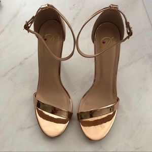 Shoes - Gold Ankle Strap Heels